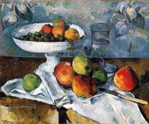 CEZANNE 1880 cezanne - Compotier, Glass and Apples (Still Life with Compotier). 1880. Oil on canvas