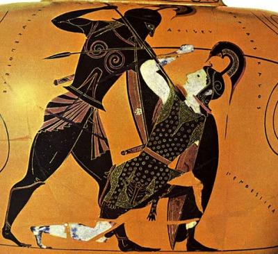 Αχιλλέας και Πενθεσίλεια. Λεπτομέρεια από αττικό μελανόμορφο αμφορέα που αποδίδεται στον αγγειογράφο Εξηκία, (περ. 540-530 π.Χ.), Βρετανικό Μουσείο, Λονδίνο.