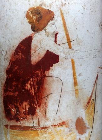 Λευκή λήκυθος από την Ερέτρια (λεπτομέρεια). Αττικό εργαστήριο του ζωγράφου του Μονάχου (440-430 π.Χ.), Αθήνα, Εθνικό Αρχαιολογικό Μουσείο.