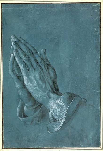 1508-09 Heller Altar  study of Praying Hands brush and grey wash heightened with white on blue prepared paper 29.1 x 19.7 cm Albertina, Vienna