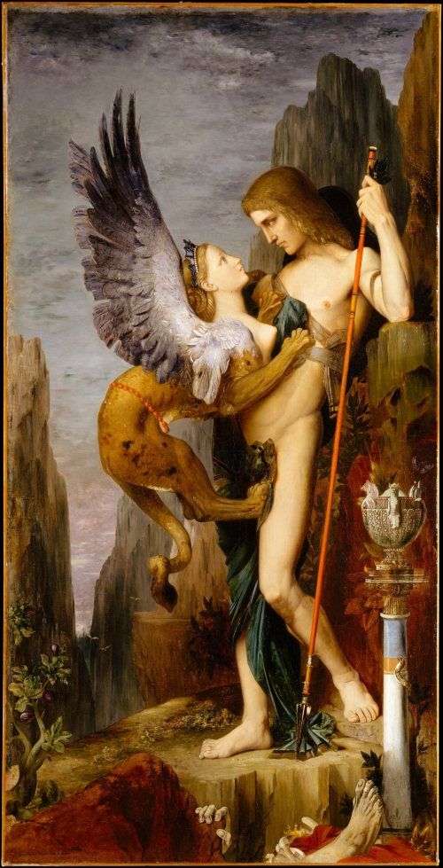Oedipus and the Sphinx, Gustave Moreau, 1864. Oil on canvas. Metropolitan Museum of Art, New York.
