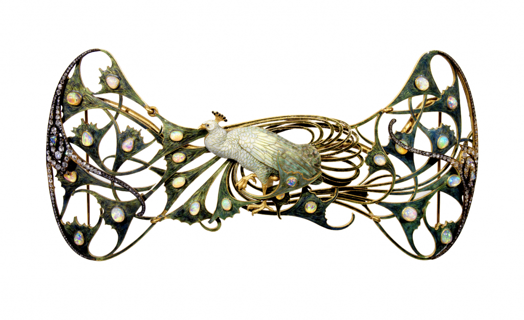 1898-1900 René Lalique, Peacock pectoral, 1898-1900