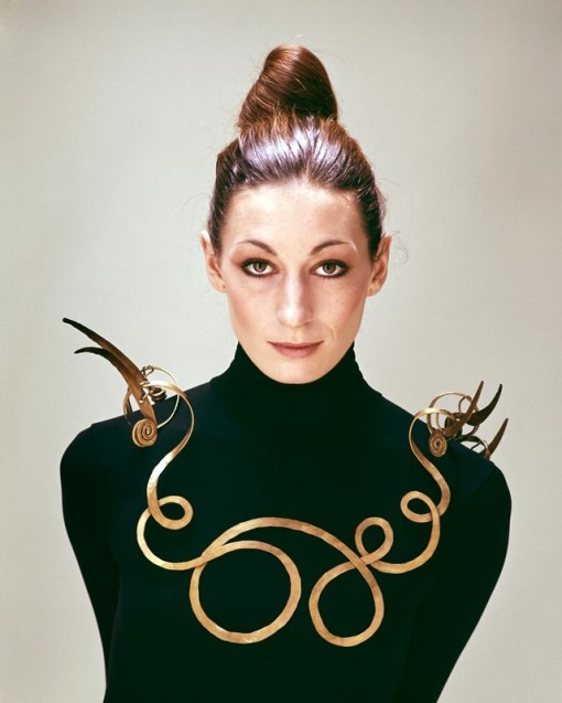 Anjelica Huston wearing The Jealous Husband, 1940, by Alexander Calder, 1976